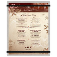 Menu Solutions ALSIN811-RB-BRUSH-BLACK Alumitique 8 1/2 inch x 11 inch Brushed Aluminum Menu Board with Black Bands