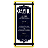 Menu Solutions ACRB-BA Yellow 4 1/4 inch x 11 inch Customizable Acrylic Menu Board with Rubber Band Straps