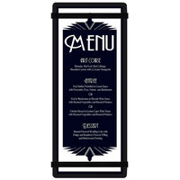 Menu Solutions ACRB-BA Black 4 1/4 inch x 11 inch Customizable Acrylic Menu Board with Rubber Band Straps