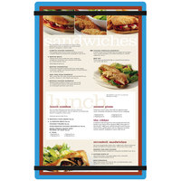 Menu Solutions ACRB-D Blue 8 1/2 inch x 14 inch Customizable Acrylic Menu Board with Rubber Band Straps