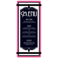 Menu Solutions ACRB-BA Pink 4 1/4 inch x 11 inch Customizable Acrylic Menu Board with Rubber Band Straps
