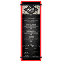 Menu Solutions ACRB-BD Red 4 1/4 inch x 14 inch Customizable Acrylic Menu Board with Rubber Band Straps