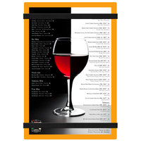 Menu Solutions ACRB-A Orange 5 1/2 inch x 8 1/2 inch Customizable Acrylic Menu Board with Rubber Band Straps