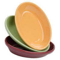 Tuxton DYK-0803 DuraTux 8 oz. Assorted Colors Oval China Nesting Baker - 12/Case