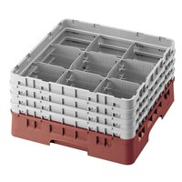 Cambro 9S800416 Cranberry Camrack Customizable 9 Compartment 8 1/2 inch Glass Rack