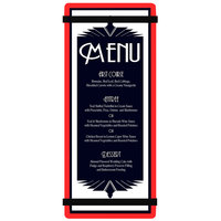 Menu Solutions ACRB-BA Red 4 1/4 inch x 11 inch Customizable Acrylic Menu Board with Rubber Band Straps