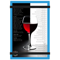 Menu Solutions ACRB-A Blue 5 1/2 inch x 8 1/2 inch Customizable Acrylic Menu Board with Rubber Band Straps