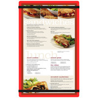 Menu Solutions ACRB-D Red 8 1/2 inch x 14 inch Customizable Acrylic Menu Board with Rubber Band Straps