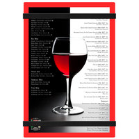 Menu Solutions ACRB-A Red 5 1/2 inch x 8 1/2 inch Customizable Acrylic Menu Board with Rubber Band Straps