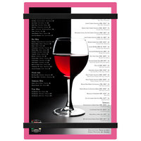 Menu Solutions ACRB-A Pink 5 1/2 inch x 8 1/2 inch Customizable Acrylic Menu Board with Rubber Band Straps