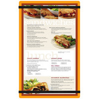 Menu Solutions ACRB-D Orange 8 1/2 inch x 14 inch Customizable Acrylic Menu Board with Rubber Band Straps