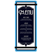 Menu Solutions ACRB-BA Blue 4 1/4 inch x 11 inch Customizable Acrylic Menu Board with Rubber Band Straps