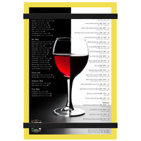 Menu Solutions ACRB-A Yellow 5 1/2 inch x 8 1/2 inch Customizable Acrylic Menu Board with Rubber Band Straps