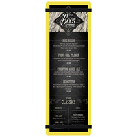 Menu Solutions ACRB-BD Yellow 4 1/4 inch x 14 inch Customizable Acrylic Menu Board with Rubber Band Straps