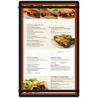 Menu Solutions ACRB-D-BLACK Black 8 1/2 inch x 14 inch Acrylic Menu Board with Rubber Band Straps