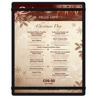 Menu Solutions ACRB-C Black 8 1/2 inch x 11 inch Customizable Acrylic Menu Board with Rubber Band Straps