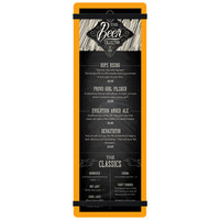 Menu Solutions ACRB-BD Orange 4 1/4 inch x 14 inch Customizable Acrylic Menu Board with Rubber Band Straps
