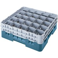 Cambro 25S738414 Camrack 7 3/4 inch High Customizable Teal 25 Compartment Glass Rack