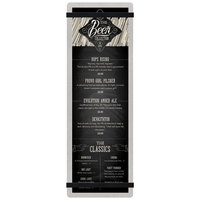 Menu Solutions ALSIN44-RB-BRUSH-BLACK Alumitique 4 1/4 inch x 14 inch Brushed Aluminum Menu Board with Black Bands