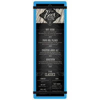 Menu Solutions ACRB-BD Blue 4 1/4 inch x 14 inch Customizable Acrylic Menu Board with Rubber Band Straps