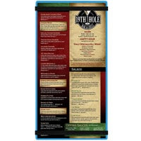 Menu Solutions ACRB-B Blue 5 1/2 inch x 11 inch Customizable Acrylic Menu Board with Rubber Band Straps