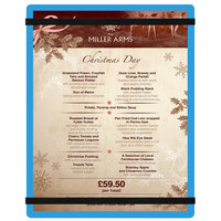 Menu Solutions ACRB-C Blue 8 1/2 inch x 11 inch Customizable Acrylic Menu Board with Rubber Band Straps