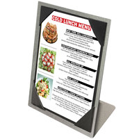 Menu Solutions MTPIX-58 Aluminum Menu Tent with Picture Corners - Brushed Finish - 5 1/2 inch x 8 1/2 inch