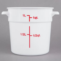 Choice 1 Qt. White Round Polypropylene Food Storage Container with Red Gradations