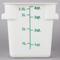 Choice 4 Qt. White Square Polypropylene Food Storage Container with Blue Gradations