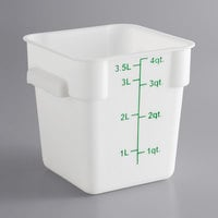 Choice 4 Qt. White Square Polypropylene Food Storage Container with Green Gradations