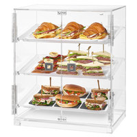 Rosseto BD129 Small 2 Door Acrylic Bakery Display Case with 3 Frosted Trays - 19 1/8 inch x 12 3/4 inch x 23 inch