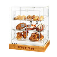 Rosseto BD127 4 Door Acrylic Bakery Display Case with 3 Frosted Trays and FRESH Bamboo Base - 21 1/2 inch x 17 inch x 21 1/4 inch
