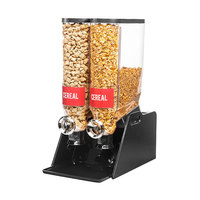 Rosseto DS106 PRO-BULK 13.3 Liter Double Canister Tabletop Snack / Cereal Dispenser with Acrylic Stand and Catch Tray - 13 inch x 20 1/2 inch x 25 inch