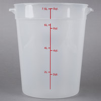 Choice 8 Qt. Translucent Round Polypropylene Food Storage Container with Red Gradations