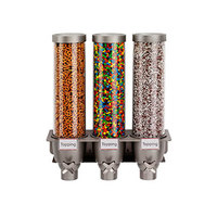 Rosseto EZ525 EZ-SERV 4.94 Liter Triple Canister Wall-Mounted Topping / Candy Dispenser - 17 7/8 inch x 6 1/2 inch x 21 inch