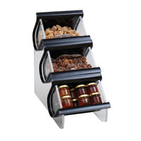 Rosseto EZO715 3 Compartment Black Acrylic Condiment EZ-Organizer