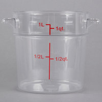 Choice 1 Qt. Clear Round Polycarbonate Food Storage Container with Red Gradations