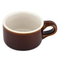 Tuxton B1M-1204 DuraTux 12 oz. Caramel / Ivory (American White) China Soup Mug with Handle - 6/Pack