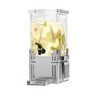 Rosseto LD117 1 Gallon Clear Acrylic Square Beverage Dispenser with Stainless Steel Base