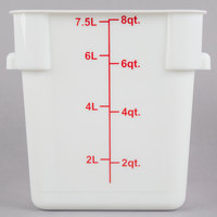 Choice 8 Qt. White Square Polypropylene Food Storage Container with Blue Gradations
