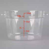 Choice 12 Qt. Clear Round Polycarbonate Food Storage Container with Red Gradations