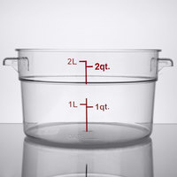 Choice 2 Qt. Clear Round Polycarbonate Food Storage Container with Red Gradations