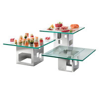 Rosseto SK002 Square Stainless Steel Riser and Tempered Glass Riser Shelf 6-Piece Set