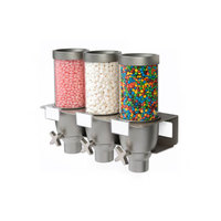 Rosseto EZ533 EZ-SERV 2.47 Liter Triple Canister Wall-Mounted Topping / Candy Dispenser - 17 7/8 inch x 7 inch x 15 1/4 inch