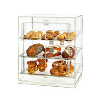 Rosseto BD126 4 Door Acrylic Bakery Display Case with 3 Frosted Trays - 20 1/4 inch x 15 1/2 inch x 21 1/4 inch