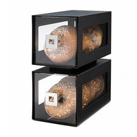Rosseto BD101 Two-Tier Black Matte Steel Bakery Display Column - 12 13/16 inch x 6 7/8 inch x 14 inch