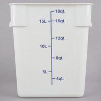 Choice 18 Qt. White Square Polypropylene Food Storage Container with Blue Gradations