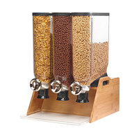 Rosseto DS102 PRO-BULK 13.3 Liter Triple Canister Tabletop Snack / Cereal Dispenser with Natural Bamboo Stand and Catch Tray - 17 3/4 inch x 20 1/2 inch x 25 3/8 inch