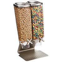 Rosseto EZ514 EZ-PRO 3.8 Liter Double Canister Tabletop Snack / Cereal Dispenser with Stainless Steel Stand - 9 inch x 8 inch x 17 inch