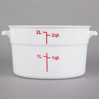 Choice 2 Qt. White Round Polypropylene Food Storage Container with Red Gradations